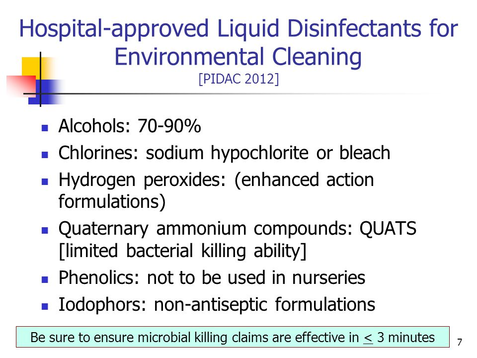 Hospital-approved Liquid Disinfectants for Environmental Cleaning [PIDAC 2012]